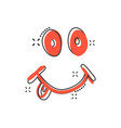cartoon smile with tongue icon in comic style vector image vector image