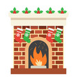 christmas fireplace flat icon new year christmas vector image