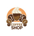 coffee shop cafeteria or cafe icon vector image vector image