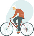 cyclist young woman riding bicycle side view vector image