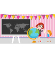 Girls looking at the globe in the classroom vector image vector image