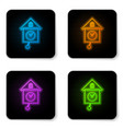 glowing neon retro wall watch icon isolated on vector image