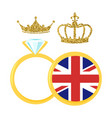 golden rings with royal crown vector image