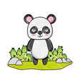 grated happy panda wild animal in the landscape vector image