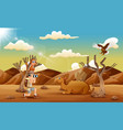 happy vacation with seeing animals in the desert vector image vector image