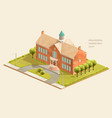 high school low poly isometric vector image