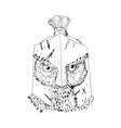 horned owl spartan helmet drawing vector image vector image
