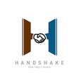 Letter H with handshake icon integrated logo vector image vector image