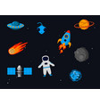 outer space related objects set isolated on starry vector image vector image