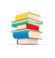 pile different colorful textbooks in stack vector image