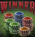 Pocker chip many green background text Winner vector image vector image