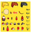 red robot body parts game sprites vector image vector image