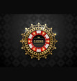 red white casino poker chip with luminous vector image
