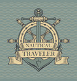 retro travel banner with ship anchor and helm vector image vector image