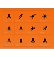 Rocket ship icons on orange background vector image vector image
