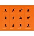 Rocket ship icons on orange background vector image