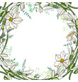 round garland with spring flowers daffodils and vector image vector image