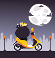 scooter with bag gifts motorcycle night under vector image