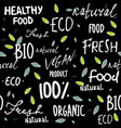 seamless eco pattern set of eco phrases ecolife vector image vector image