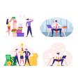set businesspeople men and women overworked vector image vector image