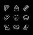 set line icons bakery vector image vector image