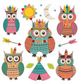 set of isolated tribal owls vector image vector image