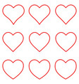 set red heart shape outline stroke icon set vector image