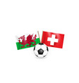 soccer ball against background two crossed vector image