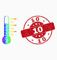 spectrum dot thermometer icon and grunge 10 vector image vector image