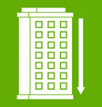 tall building and down arrow icon green vector image vector image
