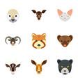 wild animal icon set flat style vector image