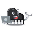 with laptop piano character cartoon style vector image