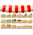 wooden supermarket boxes with vegetables vector image