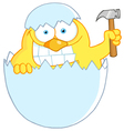 yellow easter chick holding a hammer in a shell vector image vector image