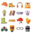 Flat job safety equipment icons set vector image