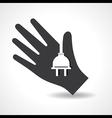 Human hand with electric plug symbol concept vector image