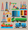 oil extraction transportation industry production vector image