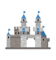 ancient castle with blue flags medieval vector image vector image