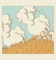 autumn landscape with field and village vector image vector image