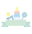 babottle milk with accessories icons vector image vector image