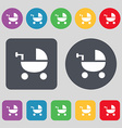 Baby Stroller icon sign A set of 12 colored vector image vector image