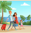 background with happy family walking vector image