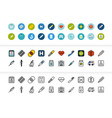 black and color outline icons thin stroke line vector image vector image