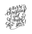black and white Merry Christmas and Happy New Year vector image
