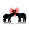 black silhouette of kissing elephants vector image vector image