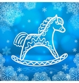 Blue new year card with white paper horse vector image vector image
