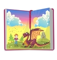 Book about Cartoon prince with cute dragon vector image vector image