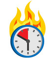 burning clock shows remaining time lack time vector image