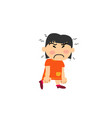 cartoon character asian girl angry vector image vector image
