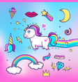 cartoon hand drawn unicorn with elements vector image